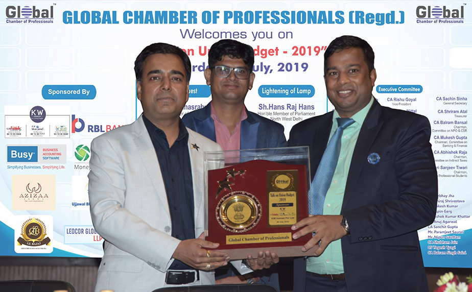 """KW Group Honoured by """"Global Chamber of Professional for Talk on Union Budget 2019, New Delhi"""""""
